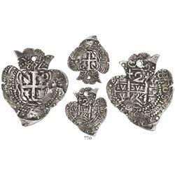 Potosi, Bolivia, cob 2 reales Heart, 1722Y, very rare, ex-von Schuckmann.