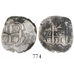 Potosi, Bolivia, cob 2 reales, 1736E, encapsulated NGC VF details / environmental damage / Puno hoar