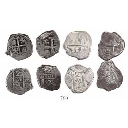 Lot of 4 Potosi, Bolivia, cob 2 reales, Philip V and Charles III, various dates (all visible).
