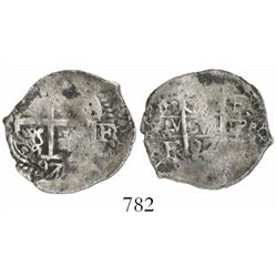 Potosi, Bolivia, cob 1 real, 1697F/CH, rare.