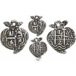Potosi, Bolivia, cob 1 real Heart, 1722Y, very rare, Sedwick Plate Coin.