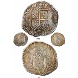Bogota, Colombia, cob 8 reales, 1651, assayer PoRMOS, lions and castles transposed, rare, finest kno