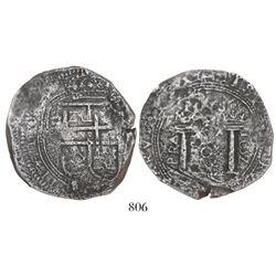 Bogota, Colombia, cob 8 reales, 1652, assayer PoRAS, rare.