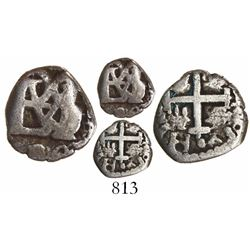 Bogota, Colombia, cob 1/2 real, Charles II (monogram of Philip IV), quadrants of cross transposed.