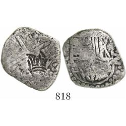 Guatemala, 2 reales, crown countermark (1662) on a Potosi, Bolivia, cob 2 reales of Philip III or IV