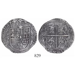 Seville, Spain, cob 4 reales, Philip II, assayer Gothic D at 4 o'clock outside tressure.