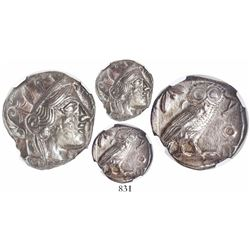 "Attica, Athens, AR tetradrachm, ""owl,"" 440-404 BC, encapsulated NGC Ch AU, strike 5/5, surface 4/5."