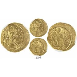 Byzantine Empire, AV solidus, Phocas, AD 602-610, encapsulated NGC MS, strike 4/5, surface 5/5.