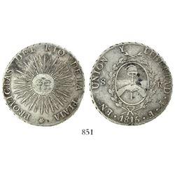 Argentina (River Plate Provinces), Potosi mint, 8 reales, 1815F, PROVICIAS error (rare).
