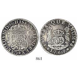 Potosi, Bolivia, pillar 4 reales, Charles III, 1769JR, fancy 9.