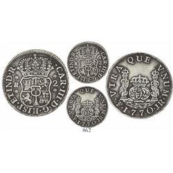 Potosi, Bolivia, pillar 2 reales, Charles III, 1770JR, no dot over mintmark (rare).