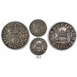 Potosi, Bolivia, pillar 1 real, Charles III, 1770JR.