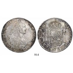 Potosi, Bolivia, bust 8 reales, Charles IV, 1791PR.