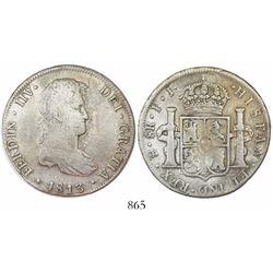 Potosi, Bolivia, bust 8 reales, Ferdinand VII, 1813PJ, king's ordinal as IIV (rare).