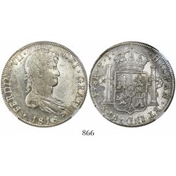 Potosi, Bolivia, bust 8 reales, Ferdinand VII, 1818PJ, encapsulated NGC AU 58.