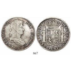 Potosi, Bolivia, bust 8 reales, Ferdinand VII, 1825JL, medal axis, no pomegranate or fleurs in shiel