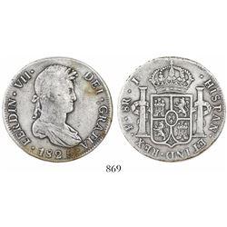Potosi, Bolivia, bust 8 reales, Ferdinand VII, 1825J.