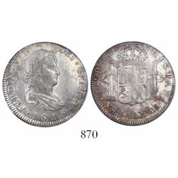 Potosi, Bolivia, bust 2 reales, Ferdinand VII, 1813PJ, encapsulated NGC AU 58.