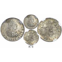 Potosi, Bolivia, bust 1/2 real, Charles IV, 1809PJ, encapsulated NGC AU 55.