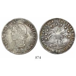 "Potosi, Bolivia, 8 soles, 1859FJ, Bolivar facing left, ""Po 400 Gs"" in legend."