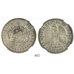La Paz, Bolivia, silver-plated copper proof pattern 1 boliviano, 1868CT, plain edge, encapsulated NG
