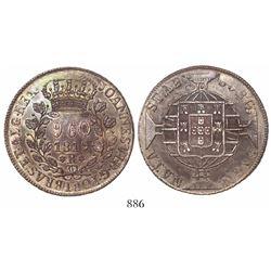 "Brazil (Rio mint), 960 reis, Joao VI, 1819-R, scarce variety with 9 ""fruits"" on left branch, struck"