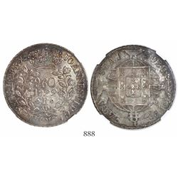 Brazil (Rio mint), 960 reis, Joao VI, 1822-R, struck over a Spanish colonial 8 reales, encapsulated