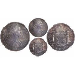 Santiago, Chile, bust 8 reales, Charles IV (non-transitional), 1791DA, encapsulated NGC AU 58, very