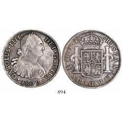Santiago, Chile, bust 8 reales, Charles IV, 1802JJ.