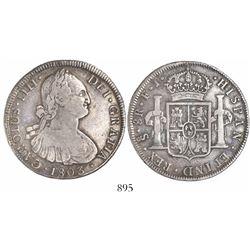 Santiago, Chile, bust 8 reales, Charles IV, 1803/2FJ, no over-assayer.