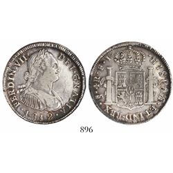 Santiago, Chile, bust 4 reales, Ferdinand VII transitional (bust of Charles IV), 1812FJ, rare.