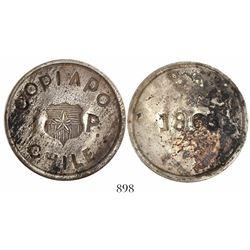 Copiapo, Chile, 1 peso, 1865.