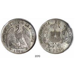 Santiago, Chile, 1 peso, 1884, encapsulated NGC MS 62.