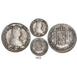 Bogota, Colombia, bust 1 real, Ferdinand VII (bust of Charles IV), 1812JF, two dots after mintmark.