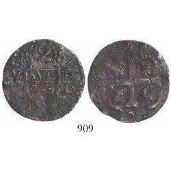 "Cartagena, Colombia, copper ""imitation cob"" 2 reales, fantasy date ""800"" (ca. 1815), rare."