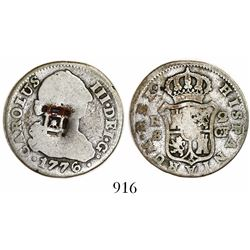 Cuba (Trinidad / Santiago / Principe), 2 reales, lattice countermark (1841) on a Seville, Spain, bus