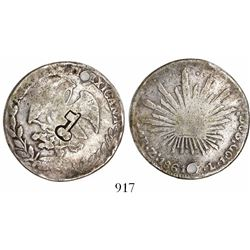 """Cuba, 4 reales, short-and-thick """"key"""" countermark (1872-77) on a Zacatecas, Mexico, cap-and-rays 4 r"""