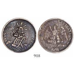 "Cuba, 50 centavos, short-and-thick ""key"" countermark (1872-77) on a Guanajuato, Mexico, balance-scal"