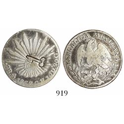"""Cuba, 2 reales, long-and-thin """"key"""" countermark (1872-77) on a Mexico City, Mexico, cap-and-rays 2 r"""