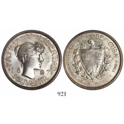 "Cuba, ""souvenir"" peso, 1897, wide date, ""PAT 97"" variety, ex-von Schuckmann."