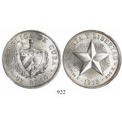 Cuba, 1 peso, 1915, high relief star, encapsulated NGC MS 63.