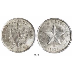 Cuba, 1 peso, 1934, encapsulated NGC MS 62.
