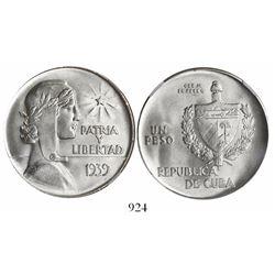 "Cuba, 1 peso, 1939, ""ABC peso,"" encapsulated NGC MS 64."
