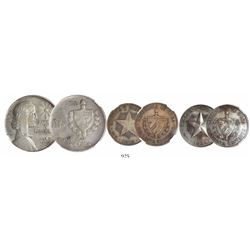 """Lot of 3 Cuban silver coins encapsulated by NGC: 1 peso """"ABC peso"""" 1938 Type I, AU 50; 40c 1916, VF"""