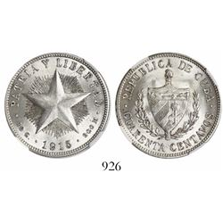 Cuba, 40 centavos, 1915, high relief, encapsulated NGC MS 63.