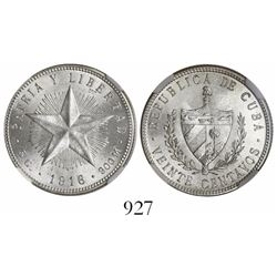 Cuba, 20 centavos, 1916, encapsulated NGC MS 63.