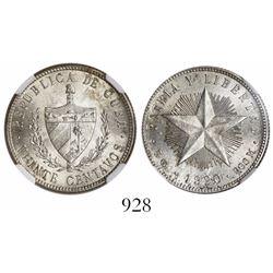 Cuba, 20 centavos, 1920, encapsulated NGC MS 64.