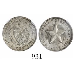 Cuba, 10 centavos, 1915, encapsulated NGC MS 64.