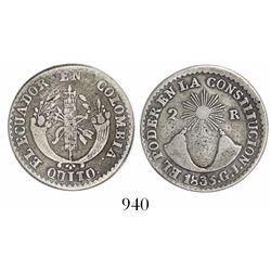 Quito, Ecuador, 2 reales, 1835GJ.