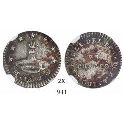 Quito, Ecuador, 1/4 real, 1842MV-S, coin alignment, encapsulated NGC VF Details / environmental dama
